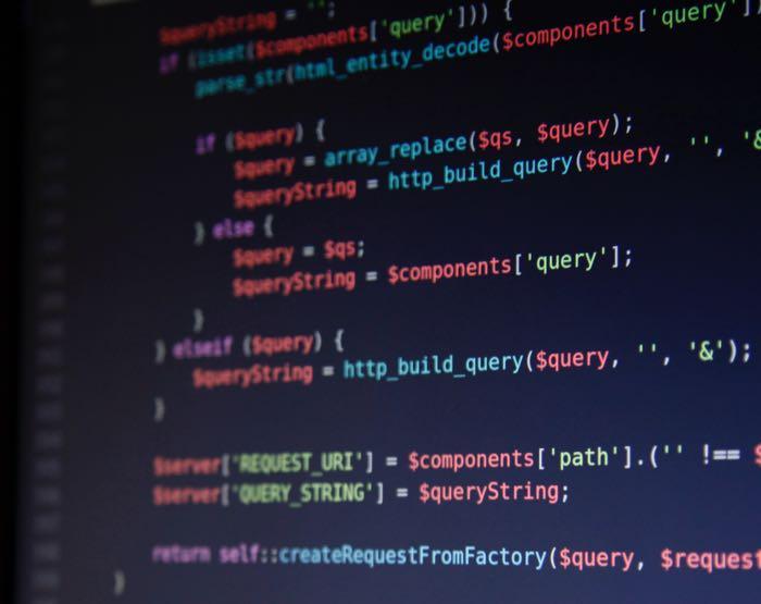 Blockchain code on a computer screen