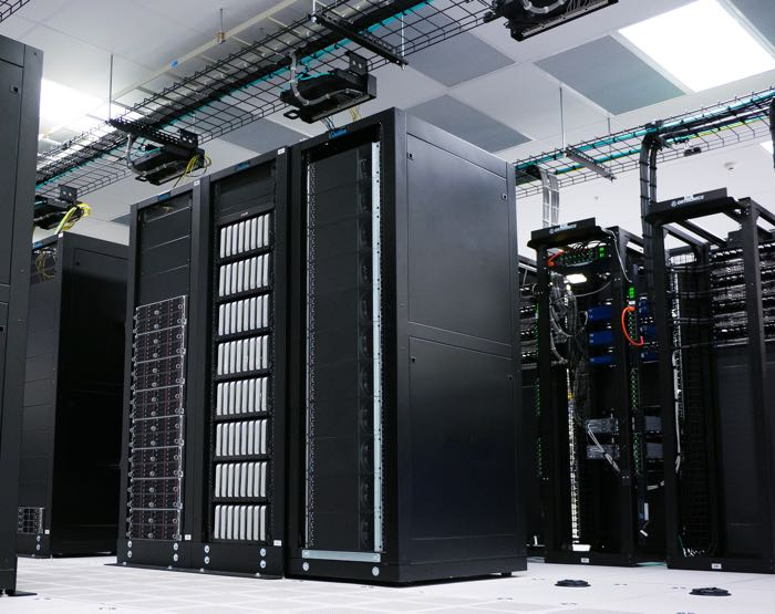 Servers in a server room running blockchain applications
