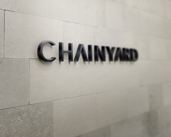 Chainyard logo mounted on a wall